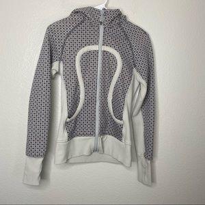 lululemon athletica Jackets & Coats - Lululemon Grey Printed Long Sleeve Scuba Jacket